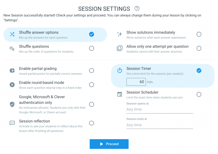 Classtime Session Settings