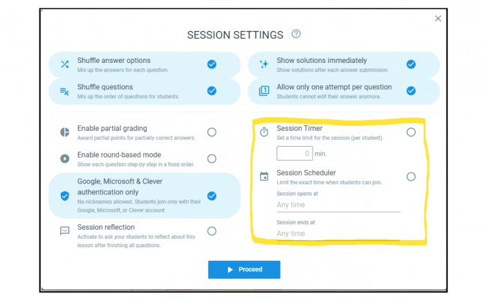 Optimized remote learning session settings