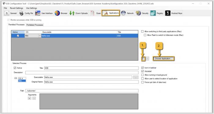 Safe Exam Browser (SEB) Anwendungen